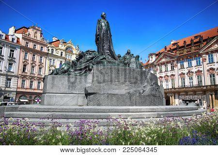 PRAGUE, CZECH REPUBLIC - AUGUST 24, 2016: Monument of Jan Hus on the Old town Square (Staromestske namestí) in Prague, Czech Republic
