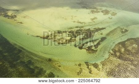 Aerial view: beach, tropical island, sea bay and lagoon, Siargao. Azure water of lagoon. Shore Landscape Bay. Aerial video.Seascape