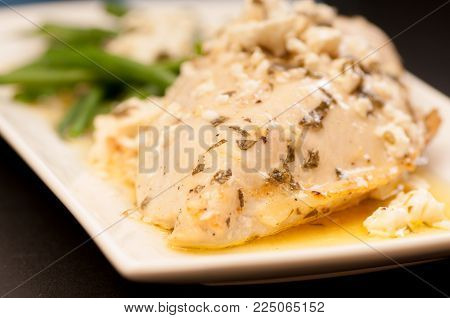 Greek Style Chicken Breast Low Carb With Feta And Green Beans, A Ketogenic Diet Meal