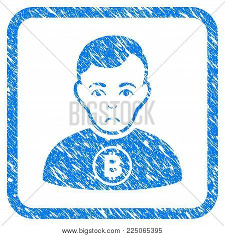 Bitcoin Man rubber seal stamp imitation. Icon vector symbol with grunge design and dirty texture in rounded rectangle. Scratched blue sticker on a white background.