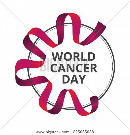 Vector Illustration To 4 February - World Cancer Day With Awareness Red Ribbon Isolated On White Bac