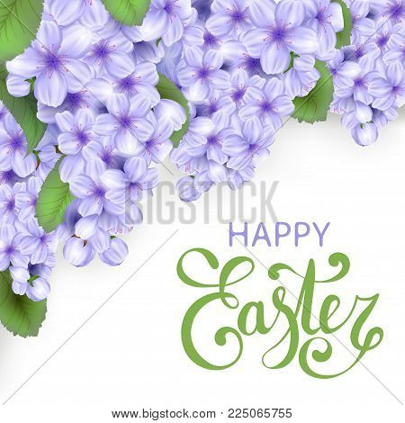 Easter vector frame with realistic flowers and leaves. Spring flowers blossoms background. Purple cherry branch with blooming flowers. Happy Easter lettering