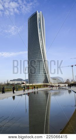 Milan, Italy - Feb 4, 2018: Generali Tower Lo Storto, The Twisted One in English is a skyscraper in Tre Torri, Milan, Italy with height of 185 m 607 ft