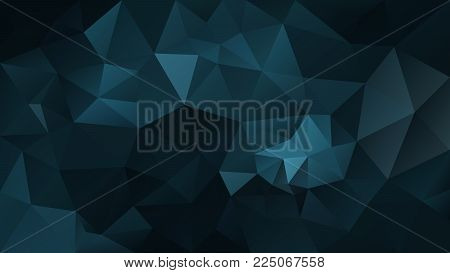 vector abstract irregular polygonal background - triangle low poly pattern - dark petroleum blue color