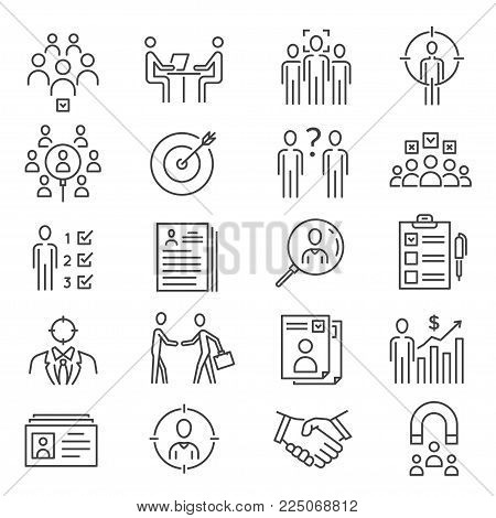 Head hunting icon. Corporation or individual to provide employment recruiting services, finding prospective employees. Vector line art illustration