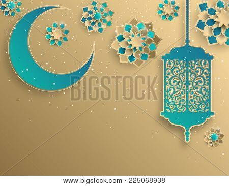 Paper graphic of islamic crescent moon, star shape. Islamic decoration. Golden colors, lantern, stardust. Ramadan Kareem - glorious month of Muslim year. Modern 3d paper cut concept
