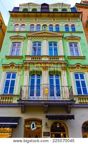 Karlovy Vary, Cszech Republic - January 01, 2018: The facades of old houses in the center of Karlovy Vary, Czech republic on January 01, 2018