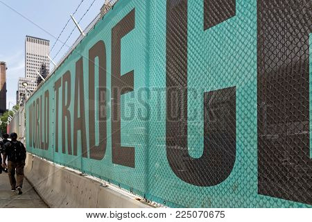 New York, USA - June 08, 2015: Ground Zero with fence for works with the inscription World trade Center. Lower Manhattan.