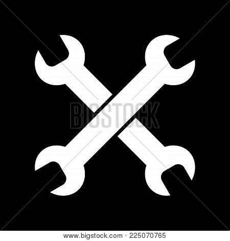 Tools isolated on black background vector icon. Spanners to repair. Linear solid flat icon. Service center. car repair. Eps 10.