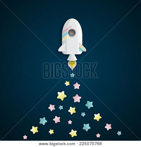 Paper art of space shuttle launch to the sky. Night sky, stars. Rocket launch. Start up business concept and exploration idea.