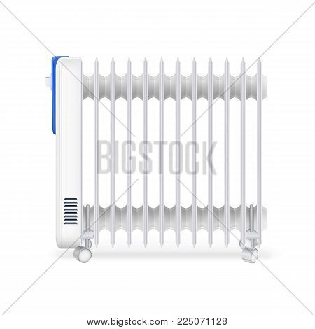 Oil radiator isolated on white background. White, electric oil filled heater. Vector, resizable icon of convector.