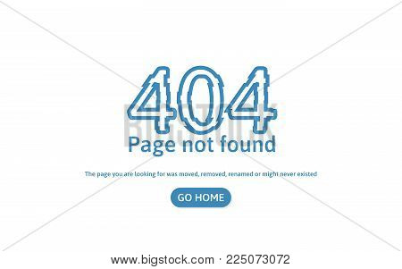 404 error page not found. Error concept page. Distorted 404 text isolated in white background. Vector illustration.