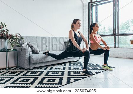 Fitness women doing front forward one leg step lunge exercises workout.