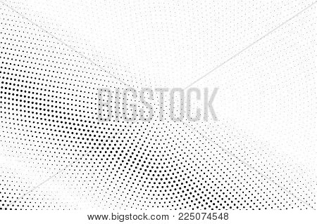 Black White Dotted Halftone Vector Background. Light Dotted Gradient. Monochrome Halftone Pop Art De