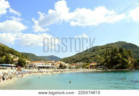 Paxos harbour, Greece - October 01, 2017 : Paxos beach a small island south of Corfu a Greek island in the Ionian sea