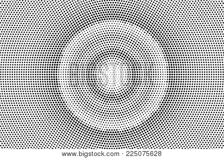 Black White Dotted Halftone Vector Background. Concentrated Circle Dotted Gradient. Minimalistic Hal