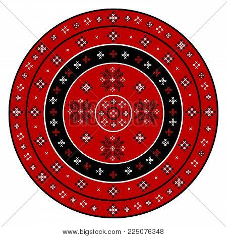 Embroidered cross-stitch round pattern on white background