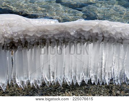 View of icicles on a shore of the Lake Ontario in Toronto, Canada, January 30, 2018