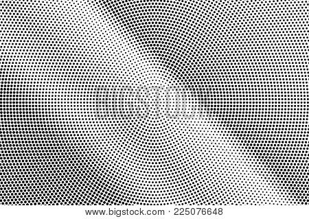 Black White Dotted Halftone Vector Background. Faded Striped Dotted Gradient. Minimalistic Halftone
