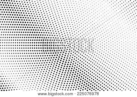 Black White Dotted Halftone Vector Background. Monochrome Dotted Gradient. Minimalistic Halftone Pop