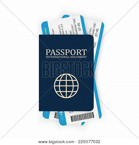 Passport with boarding pass. Two airplane tickets inside passport. Air travel concept. Tourism concept. Vector