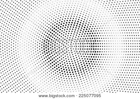 Black White Dotted Halftone Vector Background. Faded Rough Dotted Gradient. Minimalistic Halftone Po