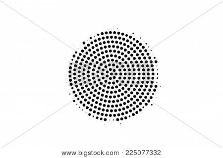 Black White Dotted Halftone Vector Background. Rough Centered Dotted Gradient. Mininalistic Halftone