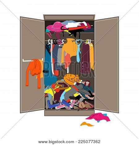 Untidy open woman wardrobe. Closet with piles of messy clothes and the sleeping cat. Home mess interior. Funny flat design vector illustration.