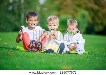 Two older boys eating ice cream, youngest brother sucking pacifier while sitting on grass in park