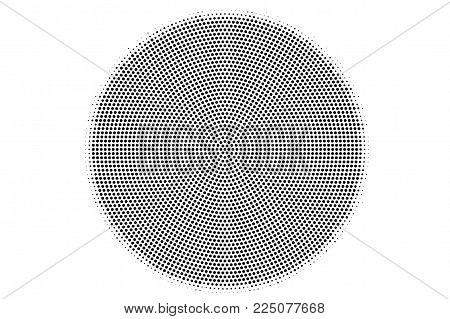 Black White Dotted Halftone Vector Background. Smooth Centered Dotted Gradient. Monochrome Halftone
