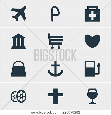 Vector illustration of 12 travel icons. Editable set of academy, harbor, market and other icon elements.