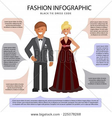 Black Tie dress code infographic. Man and woman isolated on white background with speech bubbles. Vector illustration of people in formal clothes.