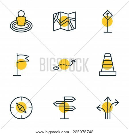 Vector illustration of 9 location icons line style. Editable set of caution, signpost, path and other icon elements.
