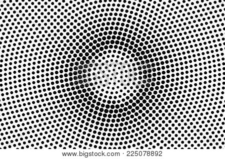 Black White Dotted Halftone. Half Tone Vector Background. Grungy Centered Dotted Gradient. Abstract