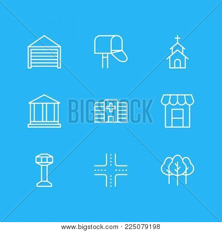Vector illustration of 9 city icons line style. Editable set of academy, crossroad, postbox and other icon elements.
