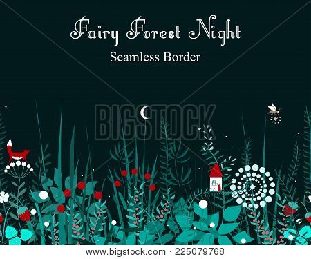 Vector seamless border with forest plants, and fairy house. Background for frames, decorative scotch tape, books, and cards. Vector illustration.