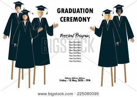 Young students guys and girls banner. Graduation festival border. Happy Graduates on stilts. Vector illustration