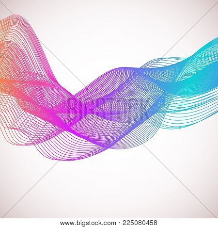 Wave of the many colored lines. Abstract wavy stripes on a white background isolated. Creative line art. . Design elements created using the Blend Tool. Curved smooth tape