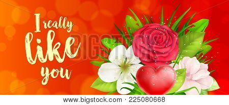 I really like you lettering with bunch of flowers and heart on red background. Calligraphic inscription can be used for greeting cards, romantic messages, banners.