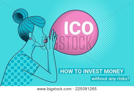 ICO fraud conceptual design how to invest money without risks. Initial coin offering concept vector illustration of young woman with big air balloon with ICO letters as a financial bubble and scam.