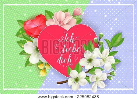 Ich liebe dich day lettering on red heart in frame with blooming twig. Calligraphic inscription can be used for greeting cards, romantic messages, posters, banners.