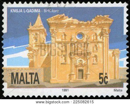 MALTA - CIRCA 1991: A stamp printed in Malta, shows Old Church Birkirkara, circa 1991
