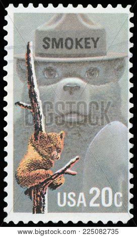 UNITED STATES OF AMERICA - CIRCA 1984: A stamp printed in USA shows image of Smokey Bear, circa 1984