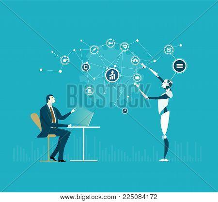 RPA Robotic progress automatisation concept illustration. Humans vs Robots. Human and robot talking about business