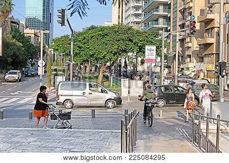 TEL AVIV, ISRAEL - SEPTEMBER 17, 2017: View of Rothschild Boulevard in Tel Aviv, Israel