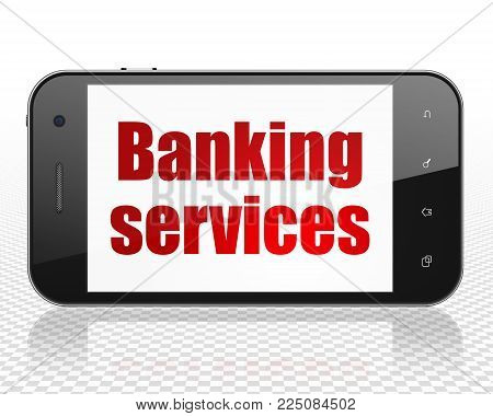 Banking concept: Smartphone with red text Banking Services on display, 3D rendering