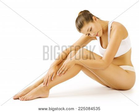 Woman Legs Body Beauty, Sitting Female in White Underwear Touching Leg, Sexy Girl Skin Care and Hair Removal Concept