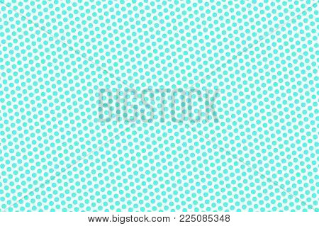 Blue White Dotted Halftone. Half Tone Vector Background. Frequent Dotted Pattern. Cold Palette Futur