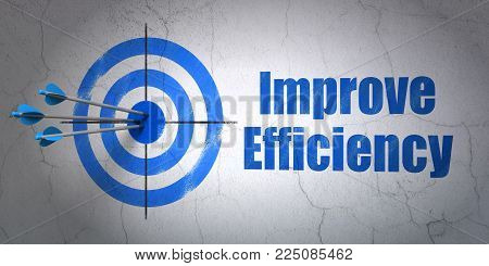 Success business concept: arrows hitting the center of target, Blue Improve Efficiency on wall background, 3D rendering