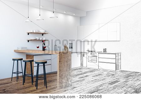 Unfinished kitchen interior with equipment and furniture. Project and engineering concept. 3D Rendering